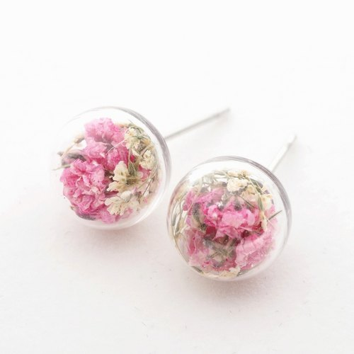 """Loving home for -OMYWAY"" DIY handmade dried flowers Yahua tender pink stars retro deep snow Zhu Hua glass ball earrings earrings"