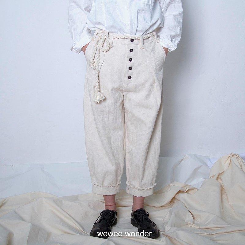 米白色人字紋全棉水洗帆布休閒褲 男女通用款 尺碼可以客製