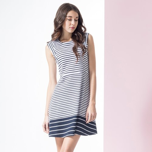 Stripe stitching style vest dress