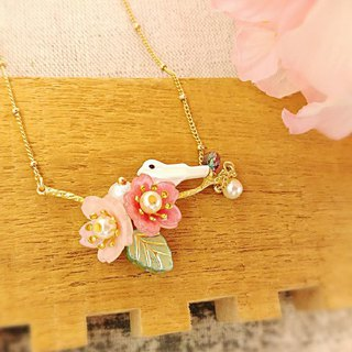 HUKUROU hand-painted three-dimensional cherry tree necklace