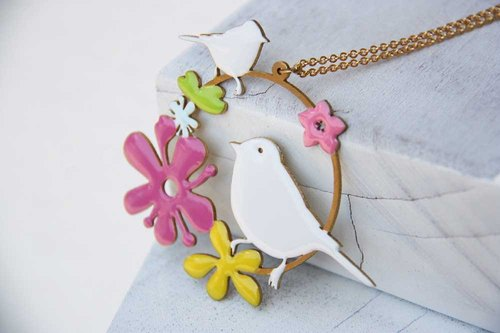 Colored Little bird Necklace / Linen Jewelry / Fashion Necklace / Everyday Jewelry