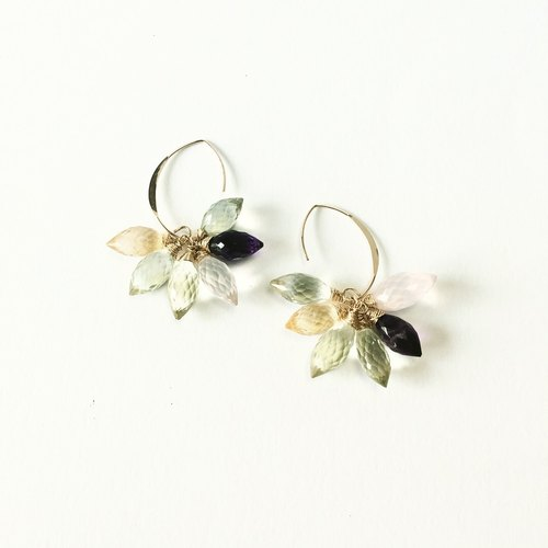 colorful quarts earrings 14kgf 【lotus flower】