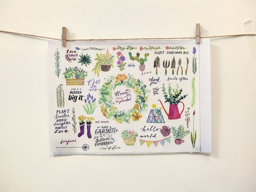 Shear own watercolor illustration transparent stickers -Welcome to My Garden Fun Garden Series