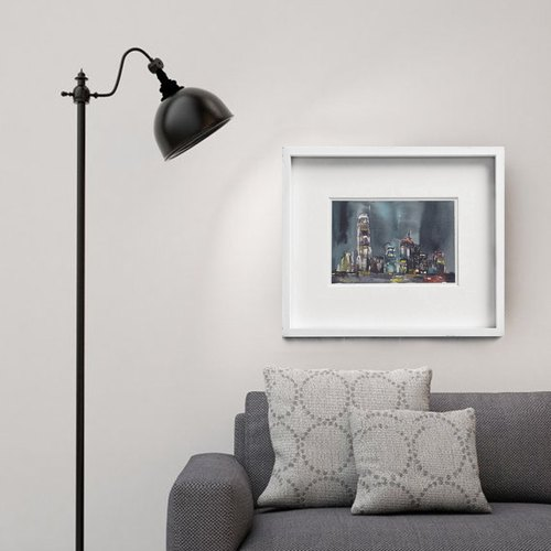 HOME GALLERY-Victoria Harbour/Hong Kong watercolour painting, Urban art print, Contemporary wall art, Abstract art home deco.