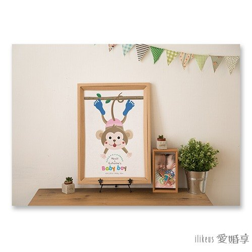 [Small hand painting / drawing feet infant growth memorial box] lovely zoo - horizontal bar monkey <enclosing the color pigment>
