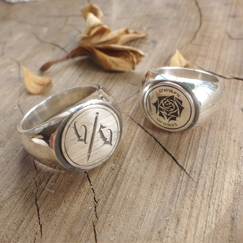 Sterling Silver Logo Ring - Handmade Totem for Laser Engraving