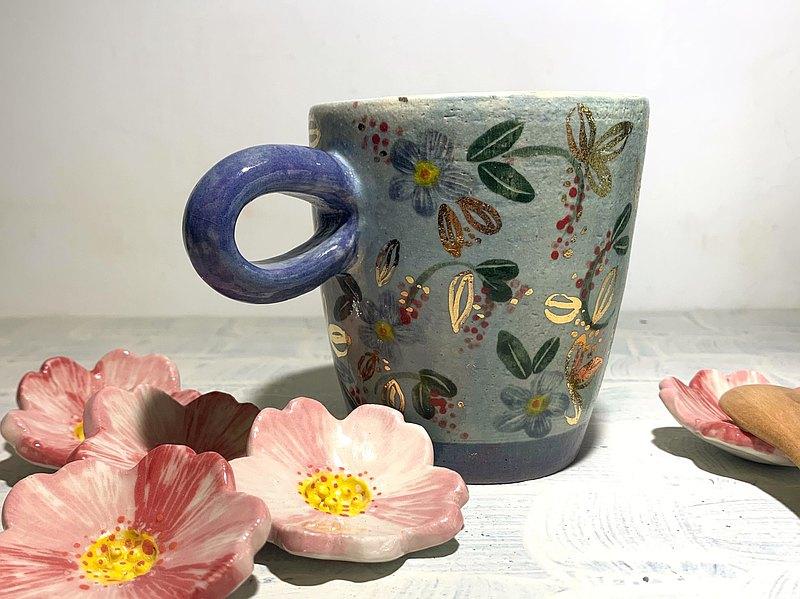 花之旅程咖啡杯_陶器馬克杯