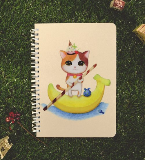 ChinChin painted cat notebook - a banana sundae (gifts postcard)