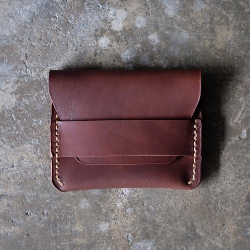 Burgundy Brown Leather Card Wallet / Dark Brown Handmade Card Holder