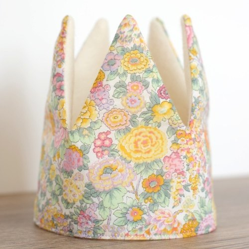 "Made in France* Birthday Party Fabric Crown for Babies & Kids / Children's Photo Props / Liberty ""Elysian"" <2021>"