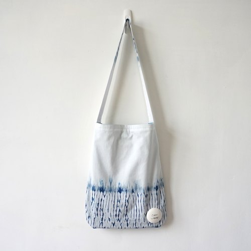 S.A x White Straw, Indigo dyed Handmade Abstract Pattern Tote Bag/ Handbag