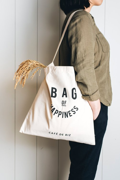Rice traders happy canvas bag - large
