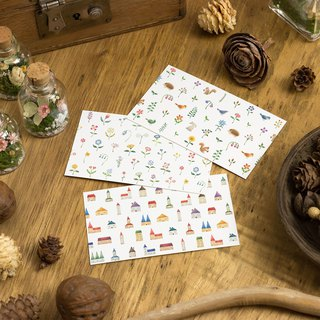 "10 pieces set. From three patterns. Message card ""Multicolored house and flowers and animals"" MC"