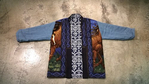 AMIN'S SHINY WORLD handmade custom KIMONO national totem horses galloping double-sided wear smock coat