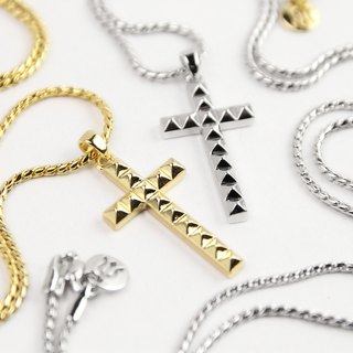 "[METALIZE] ""Punk Rivet"" Rivet Cross Necklace (Gold/Platinum)"