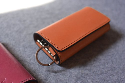 YOURS leather key ring series double fold double sandwich key case K17 egg yolk leather
