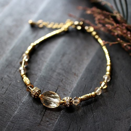 EF Crystal NO.5 Gold Phantom Corrugated Crystal Brass Bracelet