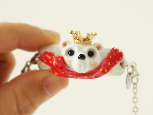 Bear King bracelet - Handmade in polymer clay, one of a kind jewelry