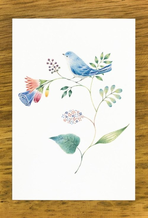 "4 pieces set. Like a picture book. Post card ""Blue bird and flower"" PC-71"