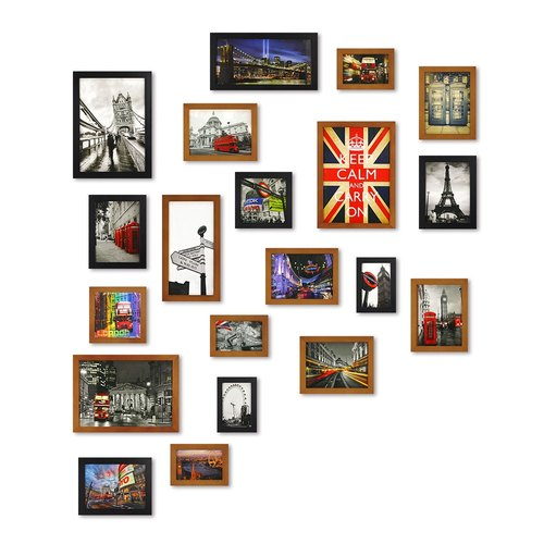 HomePlus PhotoFrame Brown+Black 20PCS City Decor Loft