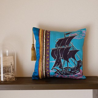 KIMONO sail boat sentence silk ➕ France made tassel mini cushion