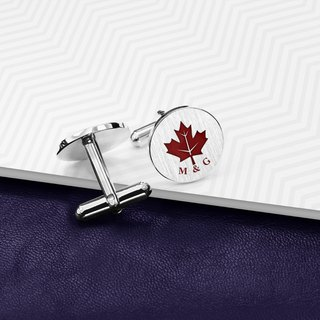 Maple Leaf Cufflinks personalized - Engraved Cufflinks - Color Cufflinks