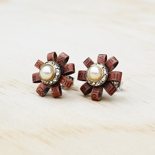 Brown Flower Stud Earrings