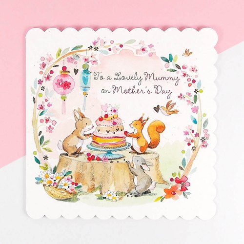 Hot silver squirrel preparing a surprise cake] [Mother's Day Card