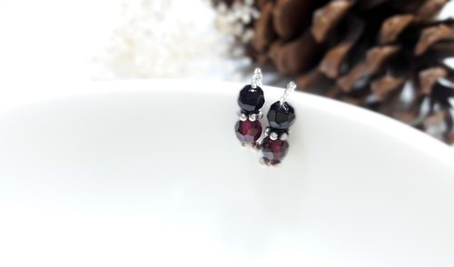 Earrings ◎ black tourmaline garnet red [*] two way compact obedient sterling silver earrings