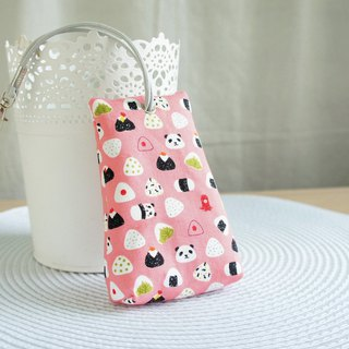 Lovely [Japanese cloth] Panda rice ball three-dimensional tea bag zipper key bag, ID card, pink