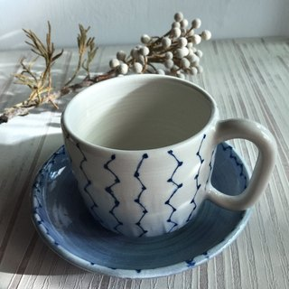 Big Dipper white porcelain coffee cup plate _ pottery mug