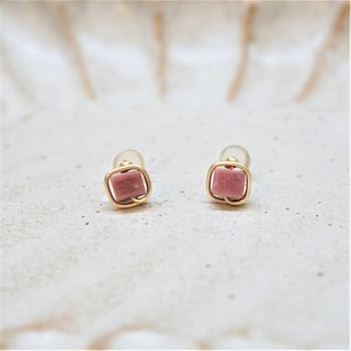 << Gold wire frame ear needle - rose stone >> 4mm square rose stone (other ear clip models)