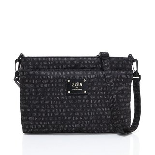 Line black double-layer crossbody bag / small size also has amazing capacity
