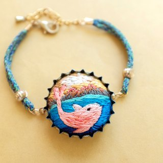 By.dorisliu Environmental Recycling Cap - Small Pink Dolphin Hand Embroidered Bracelet