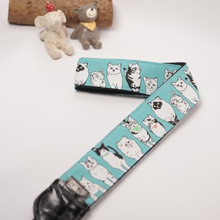 Cat Cat Looking At You (Cyan) Decompression Straps Camera Strap Ukulele Camera Strap