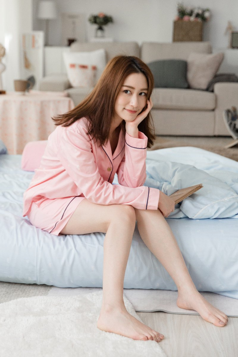 Tencel cotton jacquard cardigan home wear (cherry pink) home wear / pajamas / epidemic prevention / Valentine's Day gift