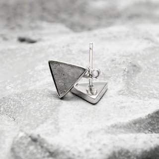 Grey Concrete Triangle Earrings (Silver/Rose Gold) | Geometric Series