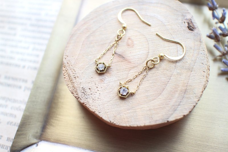 Pure-zircon brass earrings