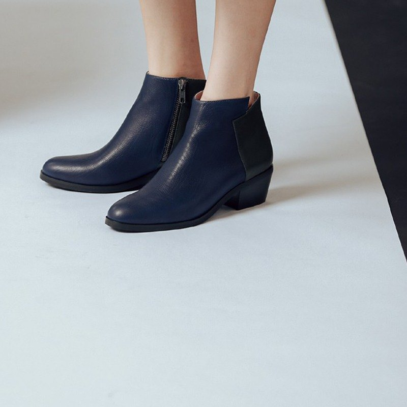 Followed by geometric square cut leather low ankle boots blue and green