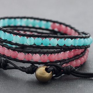 Leather Wrap Bracelets Pastel Sweet Pink Blue Rose Quartz Stone