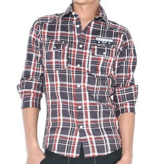Patch embroidered standard red gray plaid long-sleeved shirt