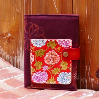 Leather ancient cloth notes account book book clothes - peony (red)
