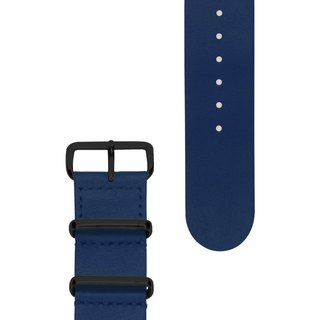 HYPERGRAND Military Leather Strap - 22mm - NAUTICAL BLUE Nautical Blue Leather (Black Buckle)