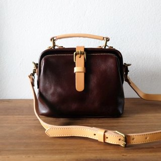 Mini Doctor Handmade Leather Bag / Small Retro Dark Brown Shoulder Bag