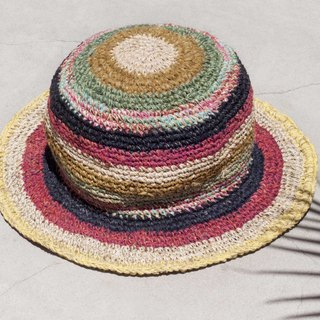 Hand-knitted cotton and linen cap knit hat fisherman hat sun hat straw hat - Moroccan desert road travel