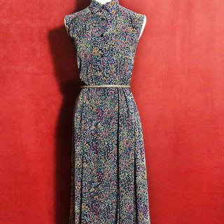 Multi-color copy sleeveless vintage dress / brought back to VINTAGE abroad