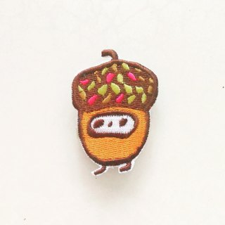 Acorn seed rubber embroidered piece / pin