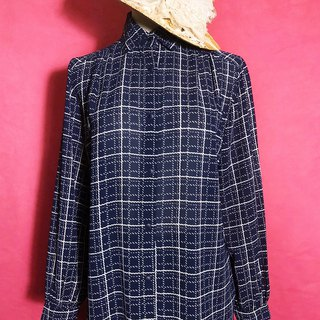 Dark blue plaid chiffon long sleeve vintage shirt / brought back to VINTAGE abroad