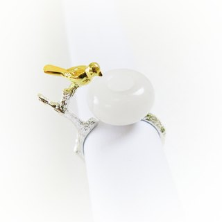 READ Dazzling Baby. Good Night | White Jade 925 Silver Ring