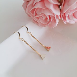 :: :: minimalist geometric series geometric triangle earrings simple personality / :: Minimalist Geometric Collection :: Gold Plated Triangle Rod Bar Minimalist Geometric Dangle Drop Earrings